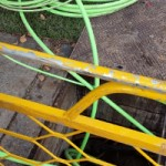 The green fibre optic aggreation cable