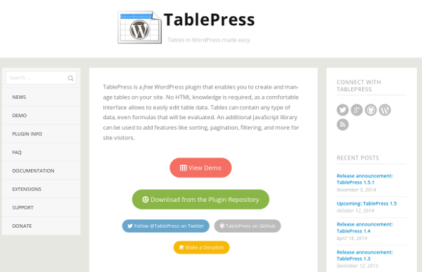 TablePress for easy tables in WordPress