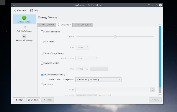 KDE power settings can be disabled when run as a virtual machine