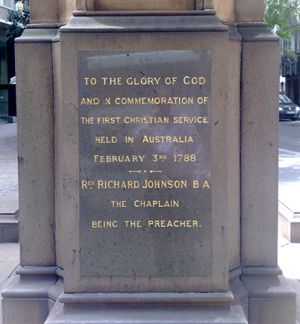A plaque in Sydney for Australia's first church service on Sunday, February 3 1788